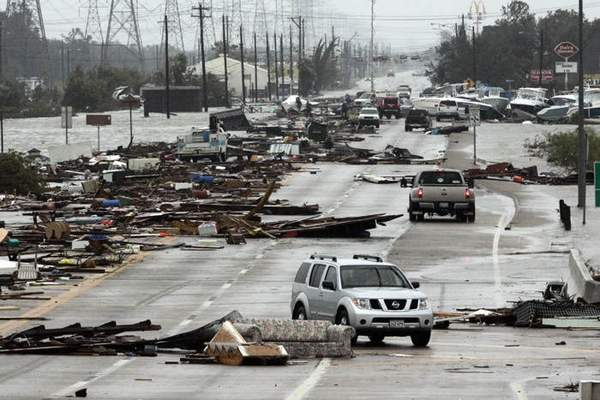 This road that goes into Seabrook, Texas, shows the devastation left as Hurricane Ike roared into Texas.