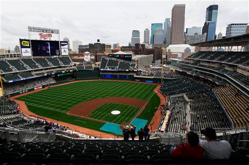 target field twins. the Twins host the Boston